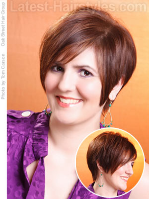 Straight haircuts for round faces